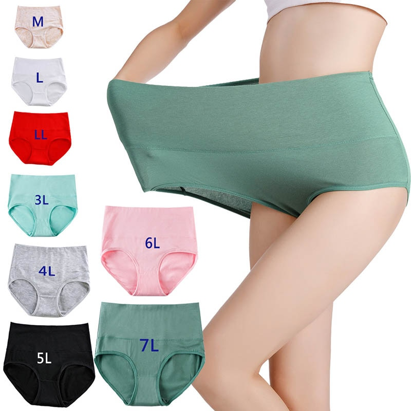 ملابس داخلية للنساء مقاس كبير مقاس M ~ 7XL ملابس داخلية بخصر عالٍ سراويل تحتية من القطن للبطن ملابس تحتية نسائية صيفية متينة قابلة للتنفس