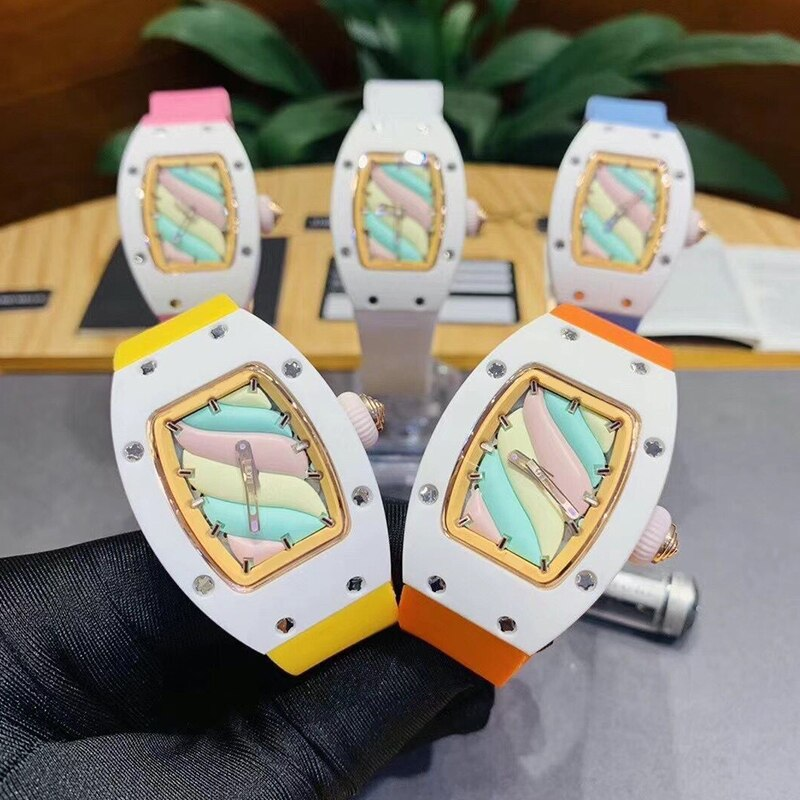 2021 brand new ladies ladies girls automatic mechanical sapphire white ceramic rubber stainless steel BonBon watch luminous 32mm
