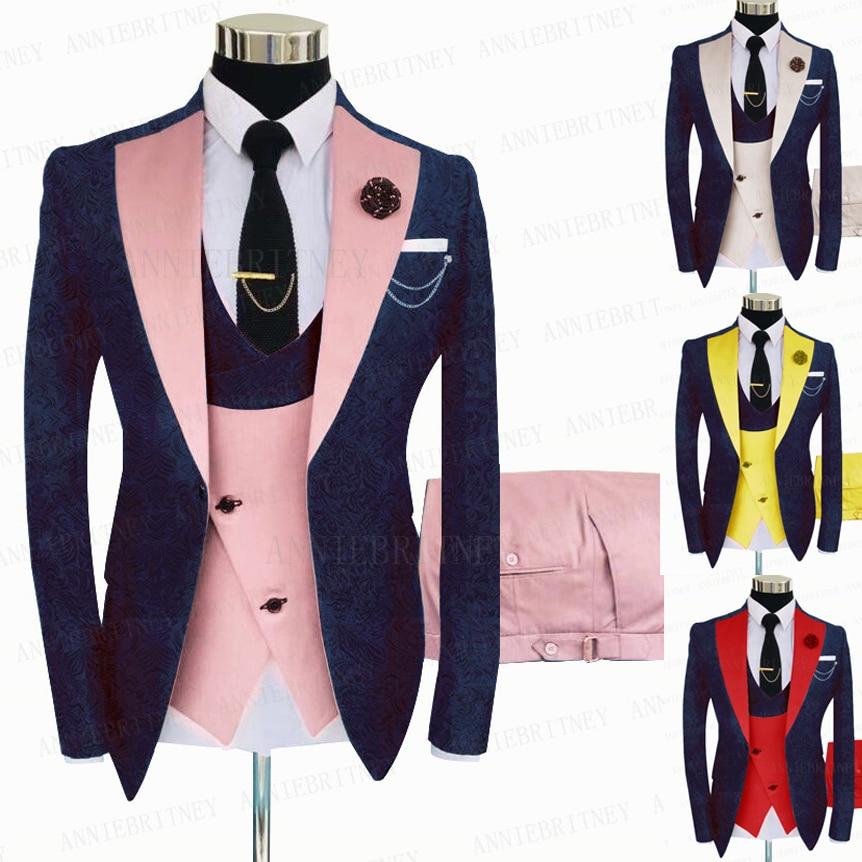 2021 تصاميم جديدة الجاكار الأزرق الداكن الرجال دعوى 3 قطعة الأعمال الرسمية السترة أفضل رجل العريس بدلة الزفاف سترة سهرة سترة السراويل