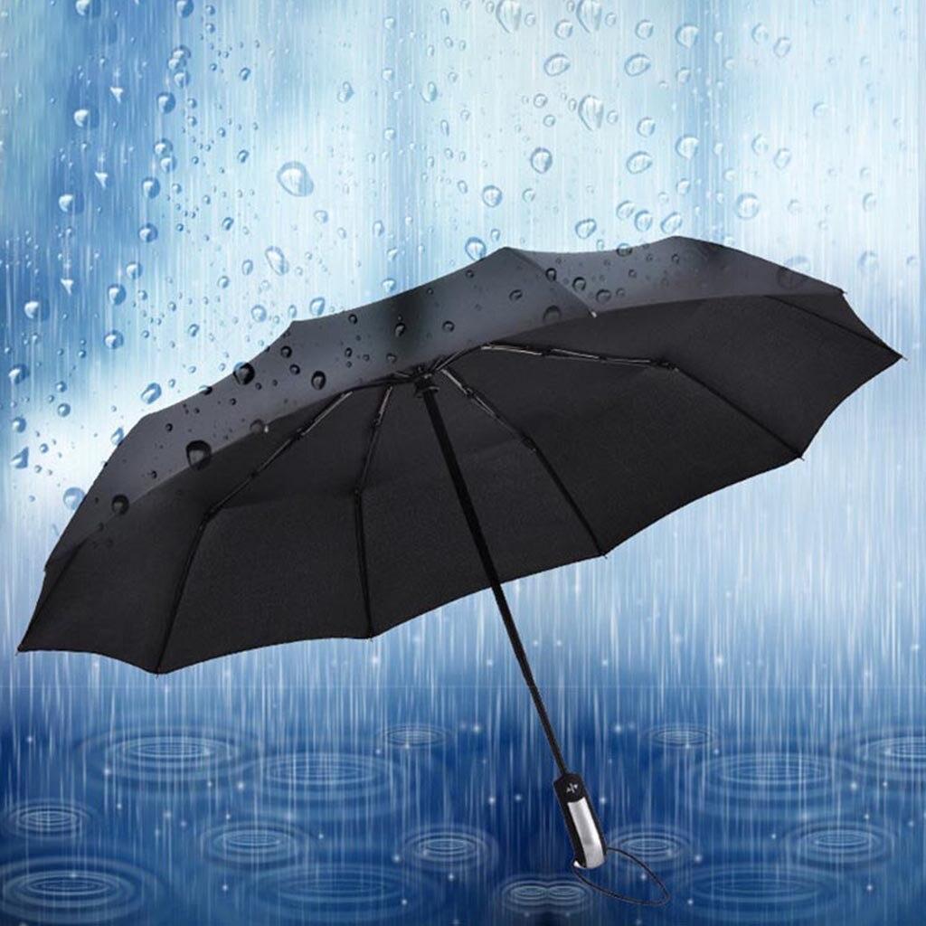 Paraguas automático a prueba de viento de lujo negro resistente al viento plegable compacto paraguas hombres/mujeres paraguas de lluvia