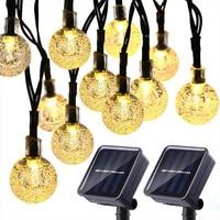 Уличная светодиодная гирлянсветильник на солнечной батарее, 50 светодиодов, 10 м, IP65 водонепроницаемые садовые лампы на солнечной батарее, ги...