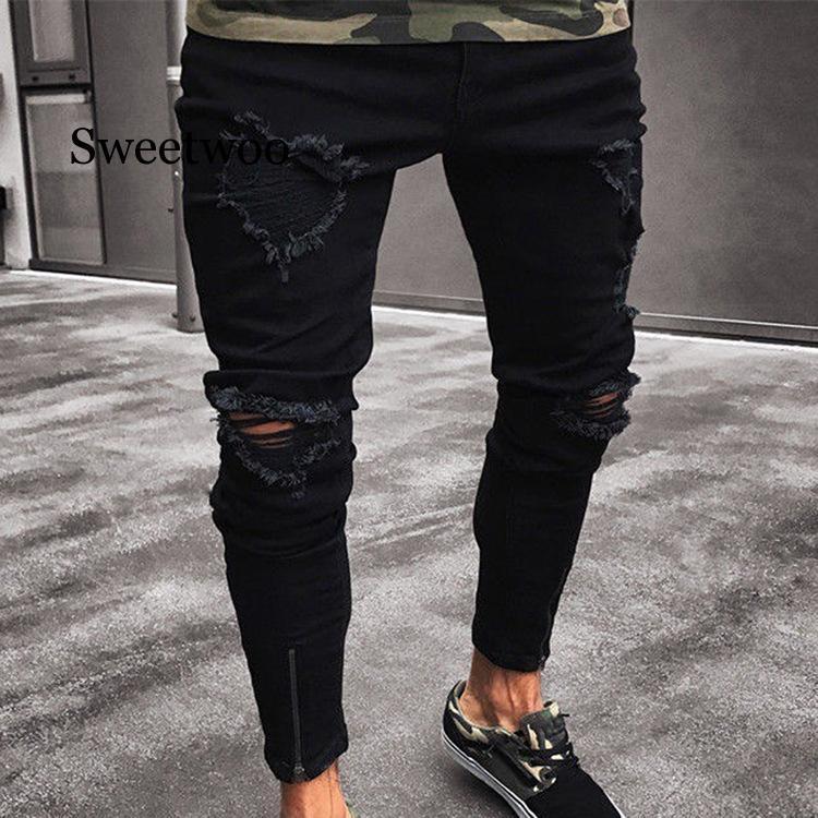 Мужские черные джинсы скинни, рваные Стрейчевые зауженные брюки в стиле хоп с дырками для мужчин