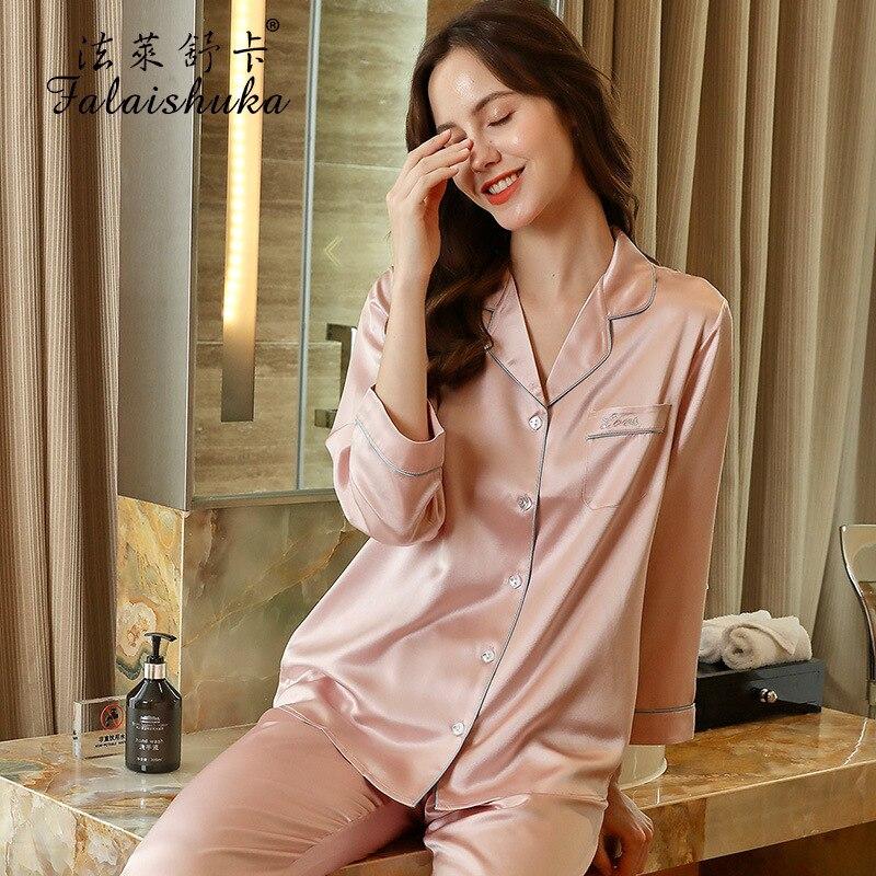 Lady High Quality 100% Silk Stain Pajamas Set Sleep Wear Summer 2021 Full Sleeve Pink Silk Two Piece Sets Homewears Female