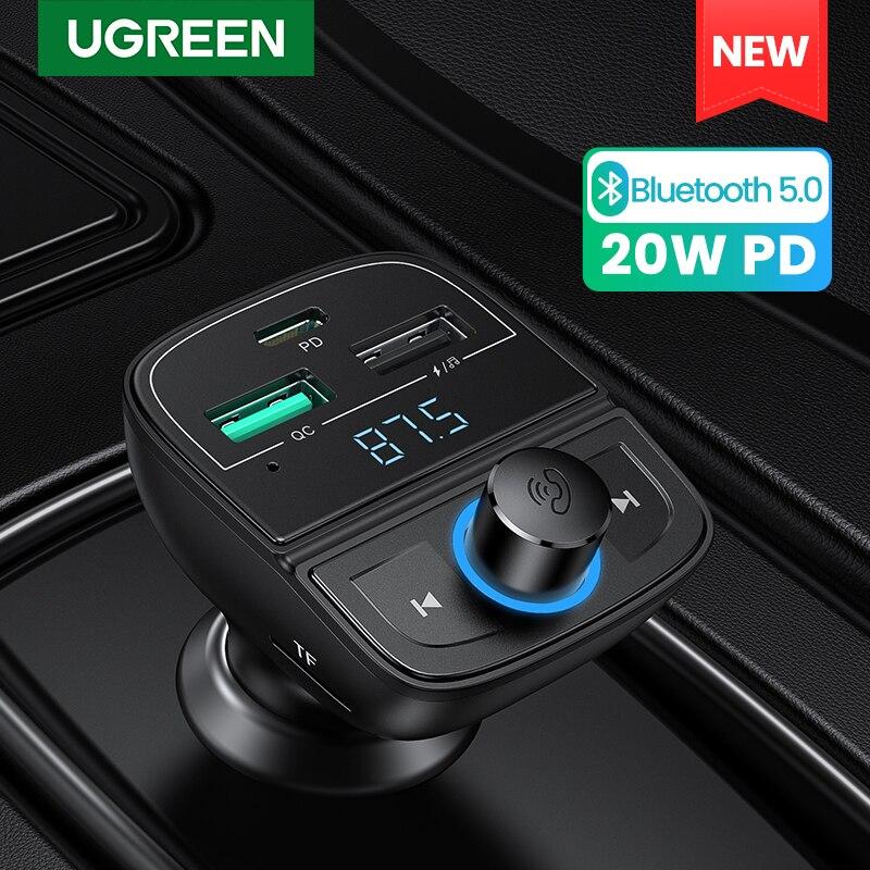 UGREEN سريع تهمة 4.0 شاحن سيارة للهاتف FM الارسال بلوتوث سيارة عدة الصوت مشغل MP3 سريع المزدوج USB سيارة شاحن الهاتف