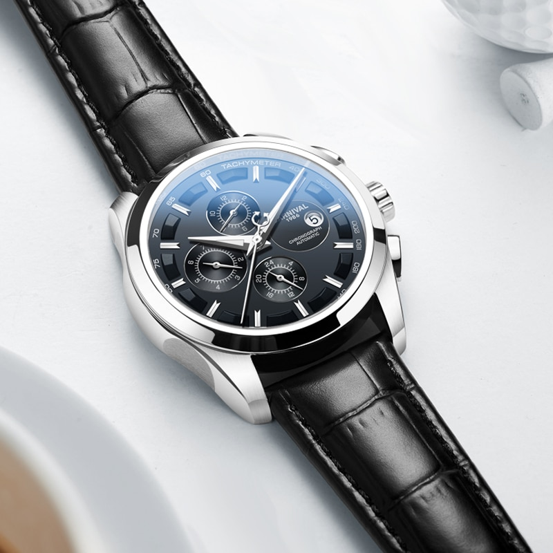 CARNIVAL Top Brand Automatic Mechanical Men Wristwatches Fashion Luxury Leather Strap Watch Waterproof Sapphire Clock Relogio enlarge