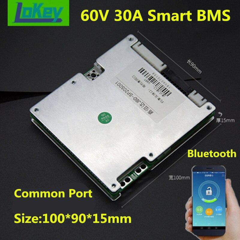 Comum com Bluetooth Inteligente 17s Lítio li Ion Lipo 20s Lifepo4 Batterys Balance Board Porta App Bms 60v 30a 16s