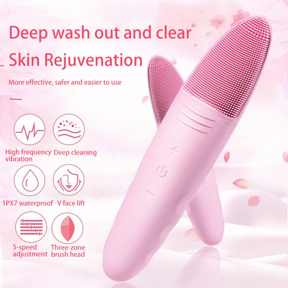Ultrasonic Silicone Electric Facial Cleansing Brush Sonic Face Cleanser Cleansing Skin Mini Washing Massager Brush Rechargeable недорого