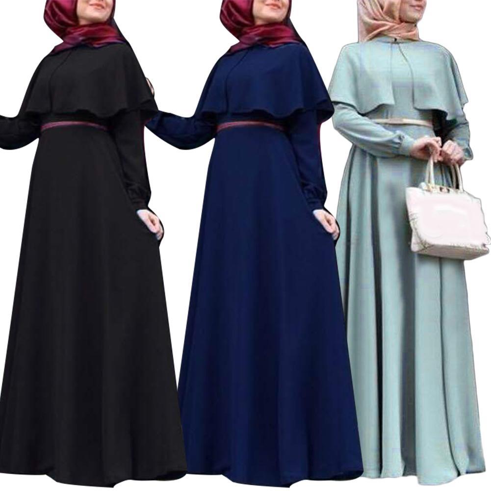 Quente cor pura feminina étnica manga longa muçulmano islâmico cabo maxi vestido kaftan robe