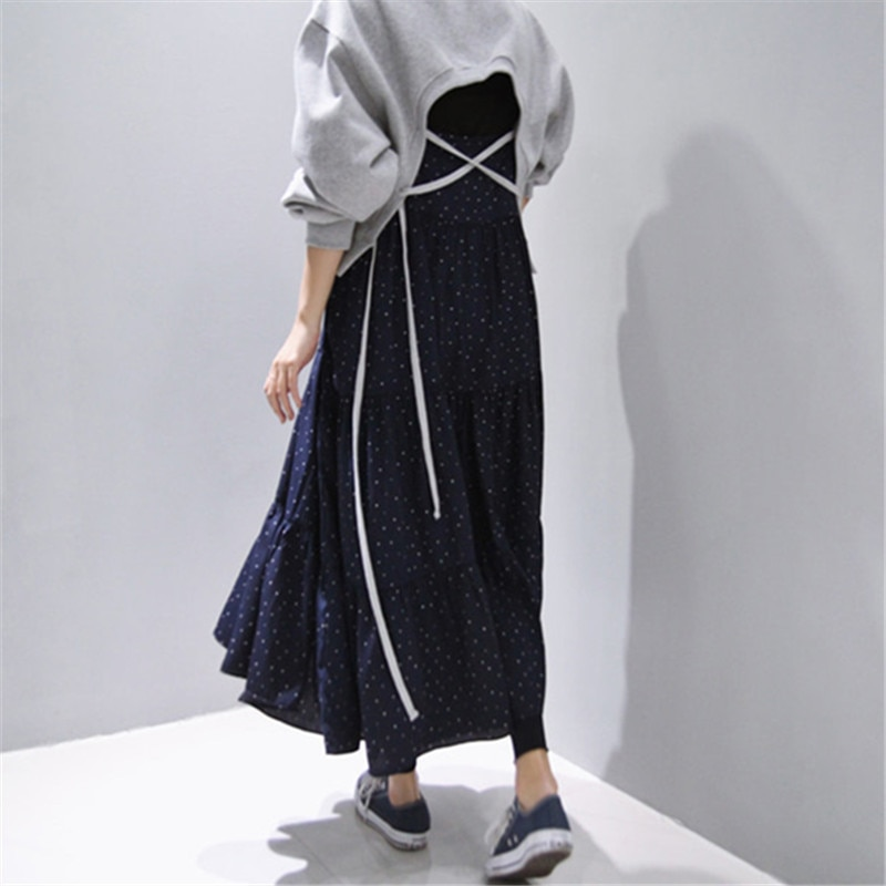 LANMREM Jersey bandage sin espalda gris corto sudadera para mujer primavera 2020 marea coreana suelta de manga larga de gran tamaño tops YJ200