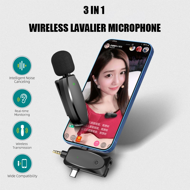 3 in 1 Wireless Lavalier Microphone System with Audio Monitor Function 120m Range Vlog Mic for Andro