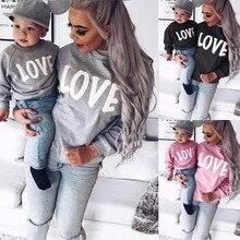 Familie Outfits Passenden Kleidung Mama Und Mich Pullover Brief Druck Mutter Tochter Sohn Hoodies Baby Mädchen Jungen Sweatshirts Tops