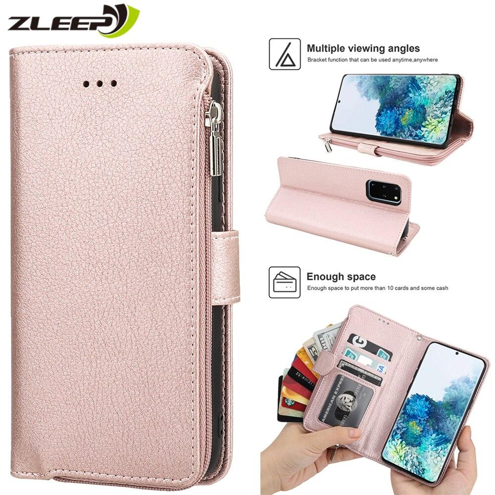 Роскошный кошелек для Samsung S20, Ультра кожаный чехол на молнии для Samsung Galaxy S20 S10 E S9 S8 Note 8 9 10 Plus, 5G чехол для телефона с картами