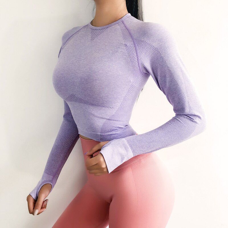 Top deportivo de manga larga sin costuras para Mujer, camisa de Yoga...