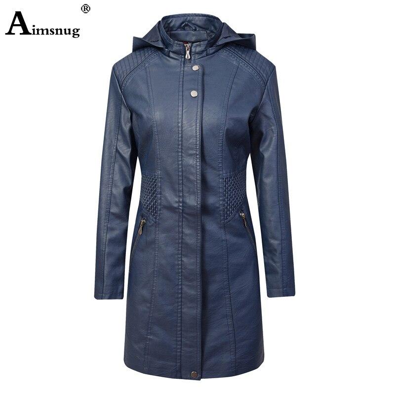 Otoño 2019 abrigos de cuero de PU chaquetas de mujer azul café elegante capucha de cuero de imitación de las muchachas de moda Linda Chaqueta larga básica ropa de abrigo