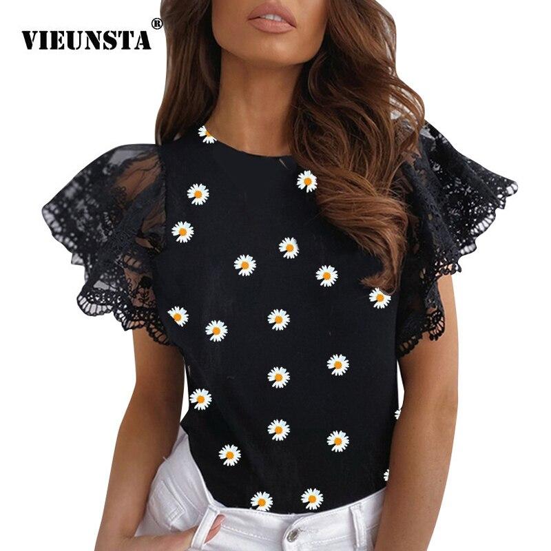 Blusa de talla grande para mujer 2020, camisa de verano de manga corta con encaje bordado, blusa Casual con dibujo de Margarita con cuello redondo para Primavera, Tops y blusas para mujer