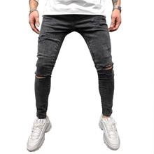 Mens Jeans Skinny Denim Pants 2020 Zipper Up Street Wear Mens Clothing Black Grey Hole Distressed Je