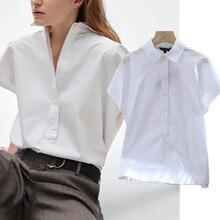 Camicetta estiva sbiadita donna Indie Folk inghilterra stile semplice solido bianco sciolto Blusas Mujer De Moda 2021 camicia Kimono donna top