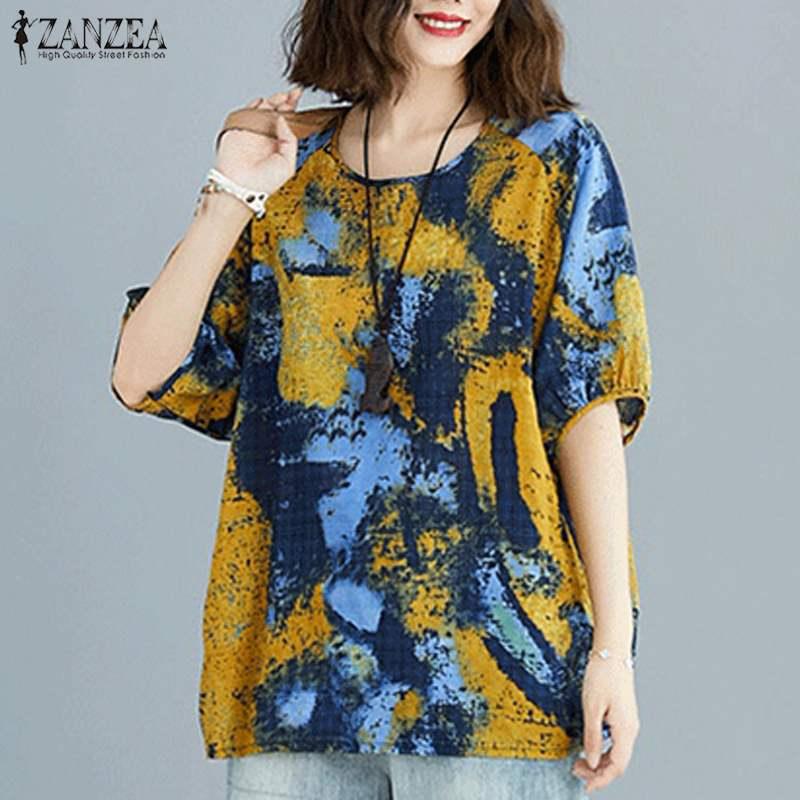 AliExpress - Summer Casual Blouse ZANZEA Vintage Women O Neck 3/4 Sleeve Floral Printed Shirt Female Bohemian Blusas Chemise Tunic Tops 5XL