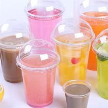 Gobelets jetables en plastique transparent   Avec couvercle à dôme, tasse à boisson froide pour lété, contenant de jus de fruits, glace avec couvercle 50 ensembles