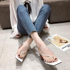 Slippers Women 2020 Summer Square Toe Thick Heel Slipper Clip-toe High Heels Sandals Flip Flop Slides Outdoor Women's Shoe Pumps