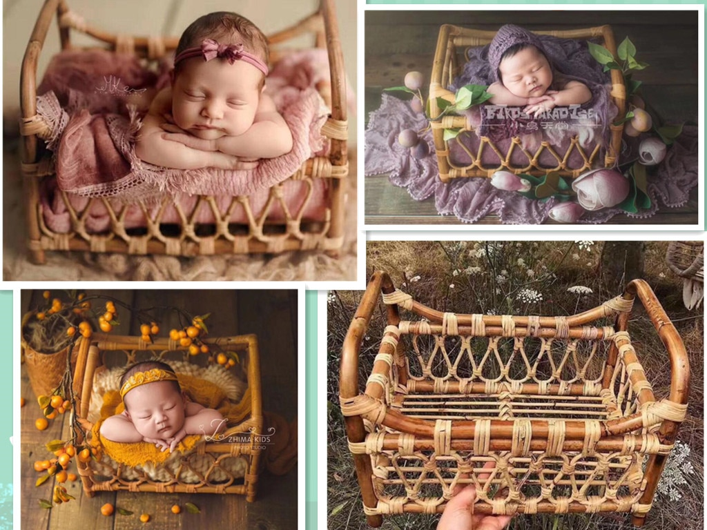 Newborn Photography Props Children Vintage Woven Rattan Basket Baby Photo Shoot Furniture Posing Chair Photo Bebe Accessoire Bed