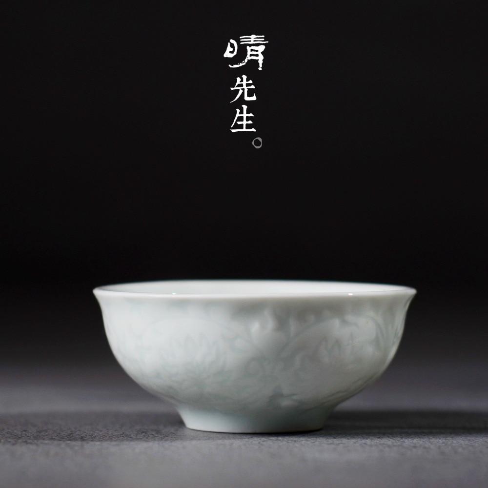 Claro señor sorbo taza de té Jindezhen cerámica Kung Fu té tienen celadón pequeña taza maestro taza única infusión de té Puer té