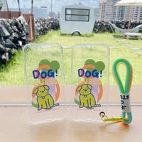 for vivo y17 y50 y70s y73s y52s y79 y83 y85 y93 y97 tpu shockproof transparent fluorescent dog with lanyard case