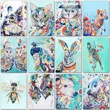 5D diamant peinture animaux kit chat chien hibou dessin animé art plein carré diamant broderie point de croix complet rond diamant mosaïque