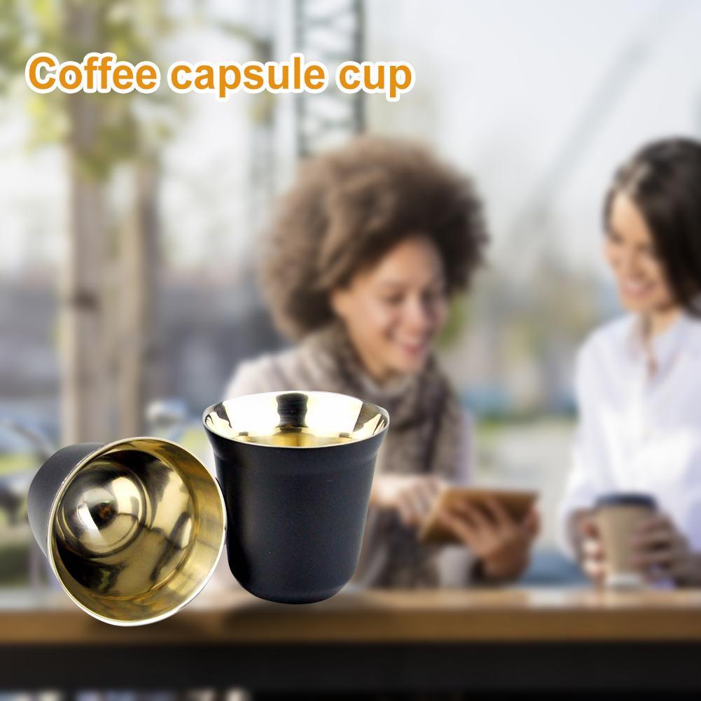 80ml de doble pared de acero inoxidable café aislamiento taza de café de la taza