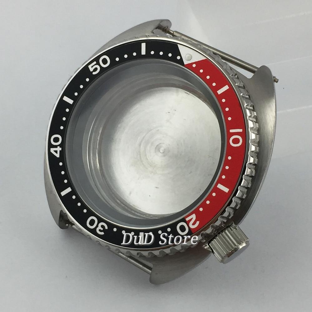 Vidro de Safira Bliger Inoxidável Case Estéril Preto Vermelho Metal Moldura Caber Nh35 Nh36 Movimento 45mm Aço