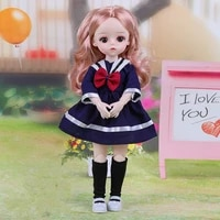 bjd princess doll 13 joints movable fashion 30cm doll clothes pants dress suit 3d eyes 6 points girl dress up toy christmas gift