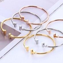 T-Design Rhinestone Titanium Steel Bangle high Quality Bracelet&Bangle Jewelry drop shipping