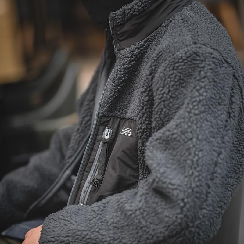 2020 New Men's Casual Retro Fleece Jacket Autumn and Winter Retro Solid Color Versatile Coat