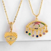 ZHONGVI Gold Kette Herz Evil Eye Anhänger Halskette 24K Gold Griechischen Auge mit Charme Griechischen Auge Schmuck olho grego