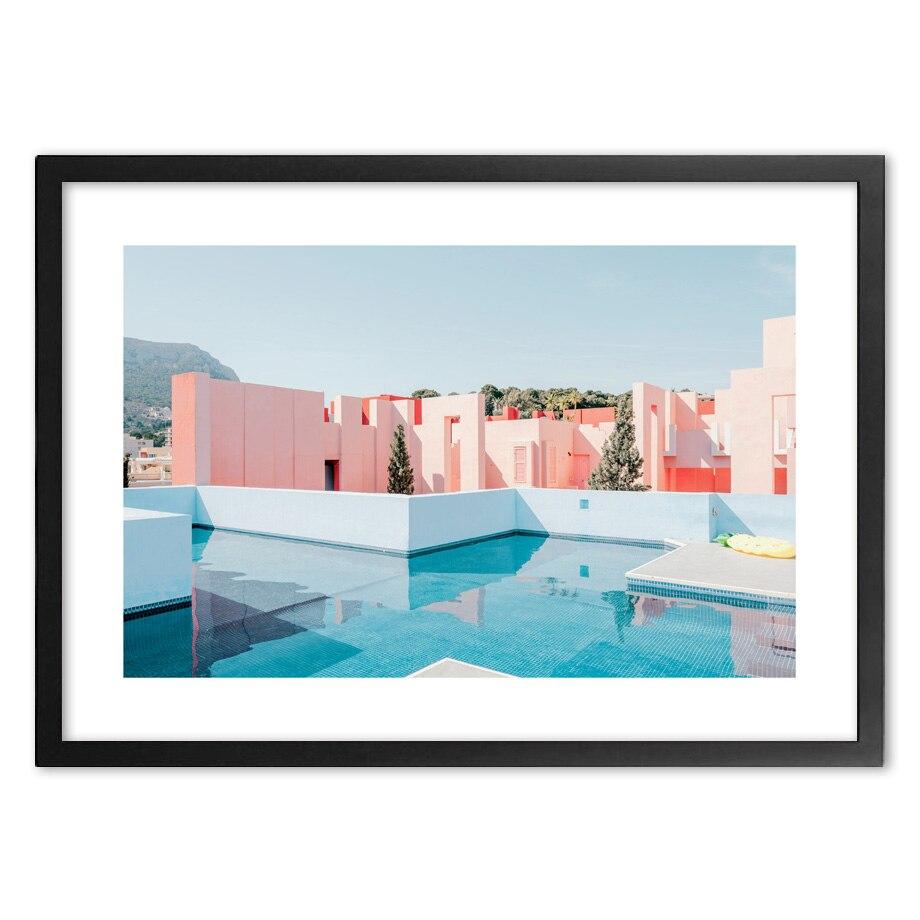 Розовый королевский Гавайский отель фотографии стены искусства печати бумаги живопись скандинавские плакаты и принты настенные фотографи...