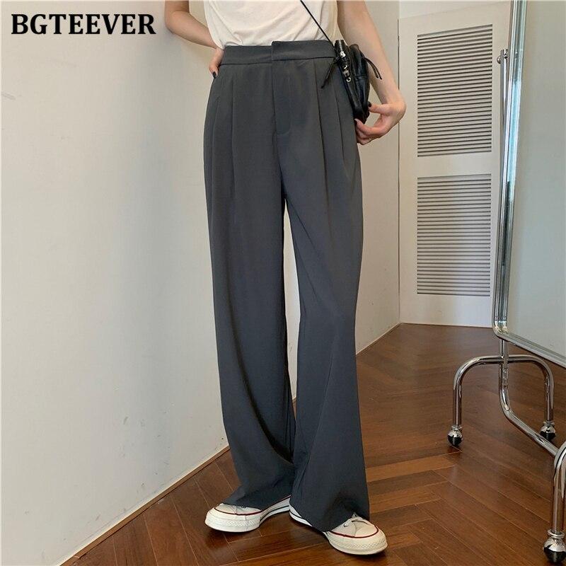 BGTEEVER Casual Suit Pants for Women High Waist Office Ladies Long Pant 2020 Summer Female Wide Leg Trousers pantalon femme