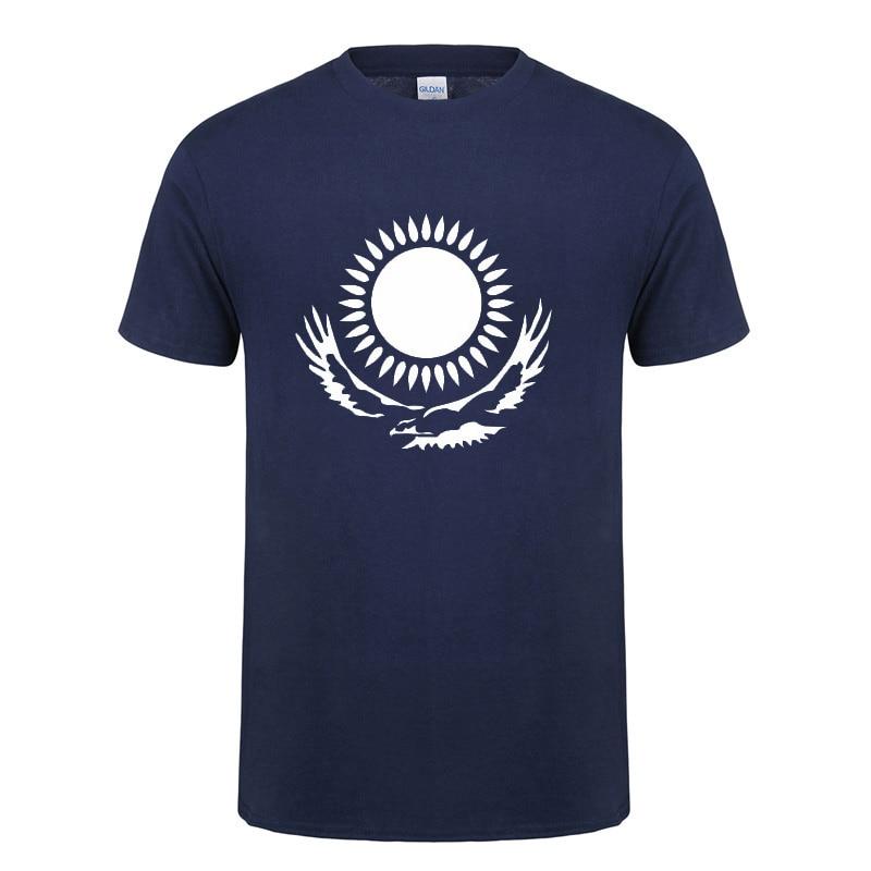 Крутая футболка с флагом Казахстана, мужская летняя хлопковая футболка с коротким рукавом и круглым вырезом, новинка, забавная Повседневная футболка, футболка, Прямая поставка