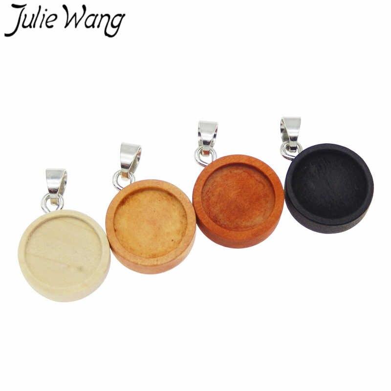 Julie Wang 4 Uds de madera redonda cabujón Base configuración con ganchos encantos en blanco bisel bandeja joyería accesorio tamaño interno 12mm