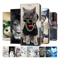 lovely cat wolf pattern wallet flip cases for huawei p8 p9 p10 p20 pro p40 lite e mate 10 20 lite card holder stand book cover