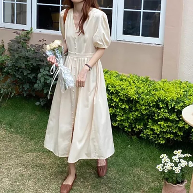 Summer Dress For Women Fashion V Neck Solid Long Dress High Waist Short Sleeve Maxi Dresses Vintage Female Party Vestidos 233#