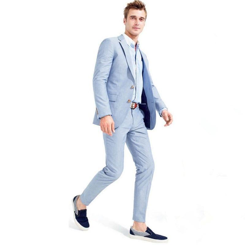 Фото Мужские свадебные костюмы небесно голубого цвета приталенные деловые из 2