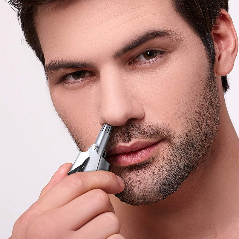 Nose Trimmer for Men Stainless Steel Manual Trimmer for Nose Vibrissa Razor Shaver Washable Portable