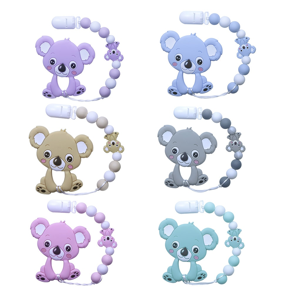 AliExpress - BOBO.BOX Silicone Teether Pacifier Chain Clip Silicone Teether Koala Baby Shower Gift Teething Necklace Silicone beads  BPA Free