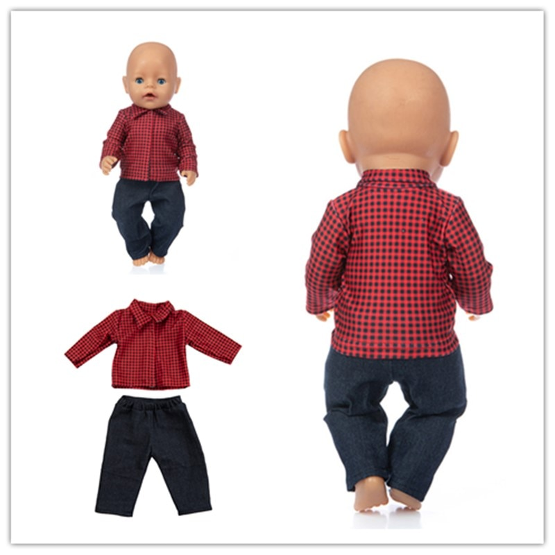 Born New Baby Fit 17 Inch 43cm Doll Clothes Red Plaid Shirt Black Trousers Accessories For Birthday Gift