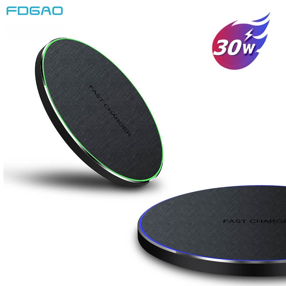 FDGAO 30W Fast Qi Wireless Charger for iPhone 12 11 Pro X XS MAX XR 8 USB-C Charging Dock Pad For Sa