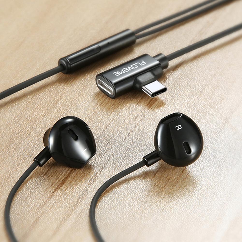 Floveme 2 in 1 USB Type C Earphone For Xiaomi Mi 9 Redmi note 7 Airdots Samsung Charging Sport Headphone Headset fone de ouvido