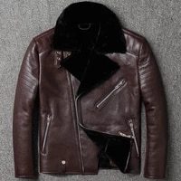 one australia fur male original genuine leather diagonal zipper lapel jacket motorcycle clothing sheepskin fur coat