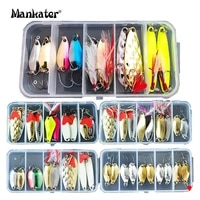 10pcs fishing metal spoon lure kit set gold silver baits multiple sequins spinner with box treble hooks l081