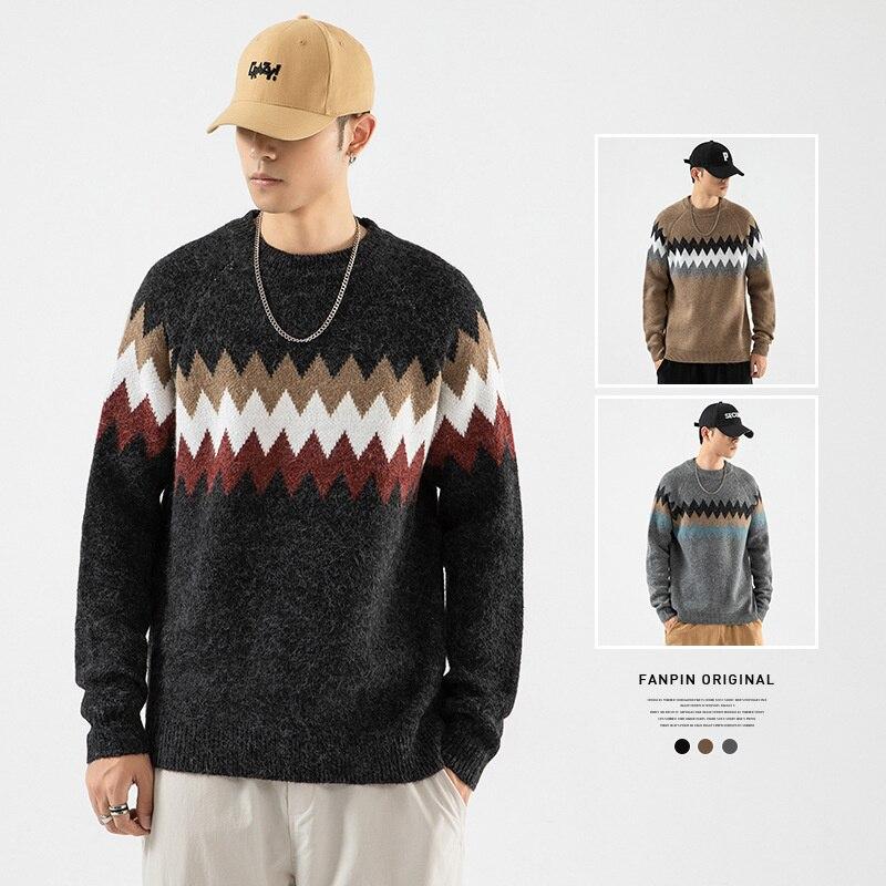 Новинка, мужской свитер, осенне-зимняя одежда, Мужской пуловер, модные свитеры, корейский серый вязаный свитер с длинным рукавом, пальто