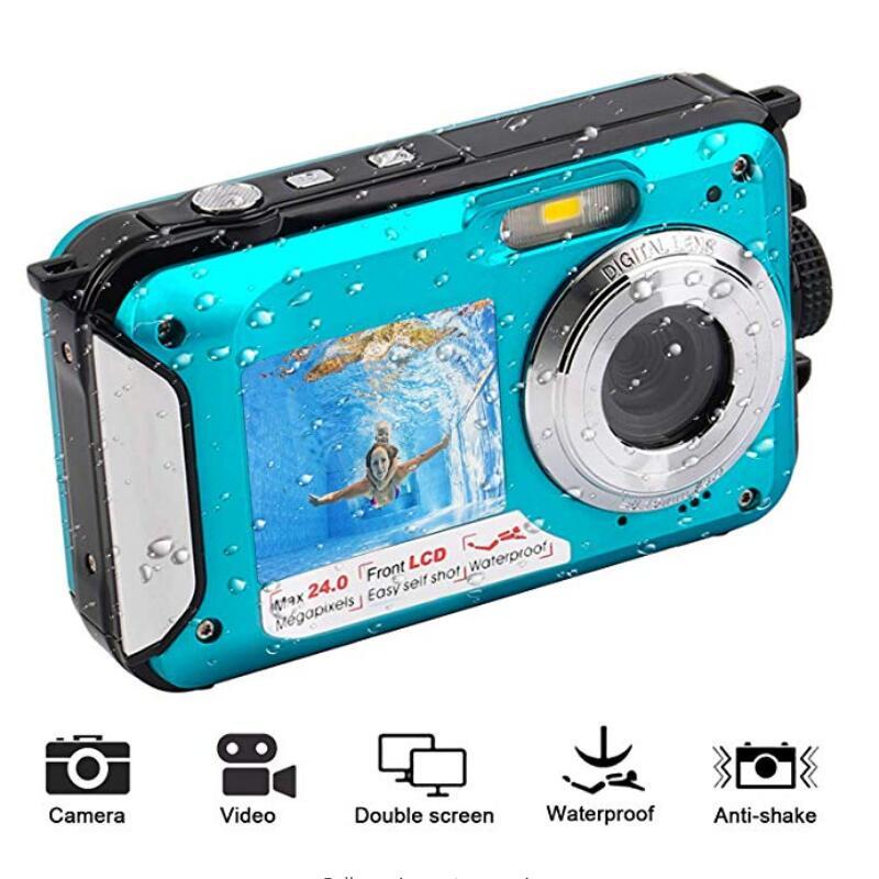 Cámara Digital TFT de 2,7 pulgadas impermeable 24MP MAX 1080P doble pantalla 16x Zoom Digital videocámara HD268 Cámara subacuática